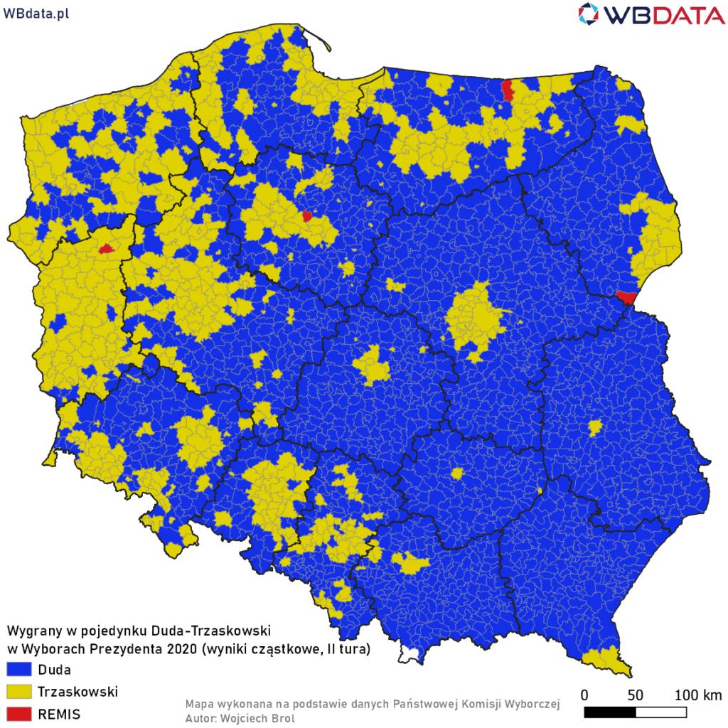 Mapa przedstawia zwycięzcę w pojedynku bezpośrednim Andrzej Duda - Rafał Trzaskowski w Wyborach Prezydenta 2020 (II tura, dane cząstkowe, 99,84%)