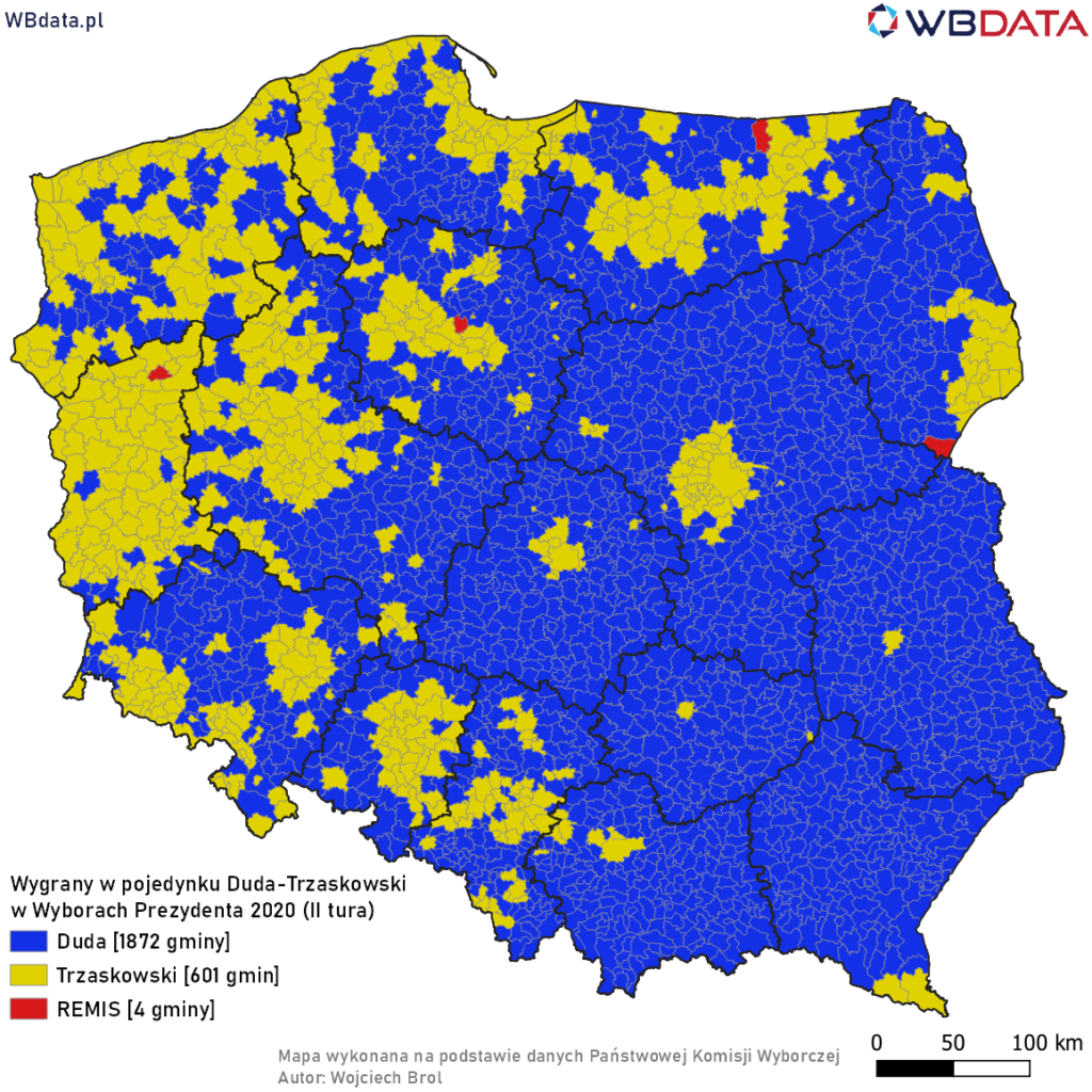 Mapa przedstawia zwycięzcę w pojedynku bezpośrednim Andrzej Duda - Rafał Trzaskowski w Wyborach Prezydenta 2020 (II tura, dane cząstkowe, 99,99%)