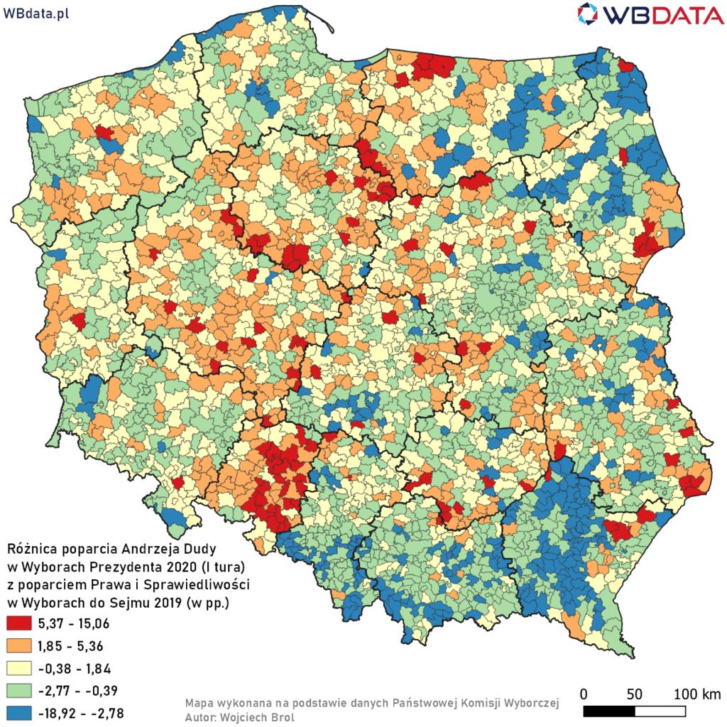 Mapa przedstawia różnicę poparcia Andrzeja Dudy w Wyborach Prezydenta 2020 (I tura) z poparciem Prawa i Sprawiedliwości w Wyborach do Sejmu 2019 (w pp.)