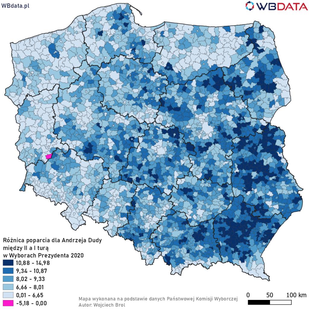 Mapa przedstawia różnicę poparcia w gminach dla Andrzeja Dudy pomiędzy II a I turą Wyborów Prezydenta 2020