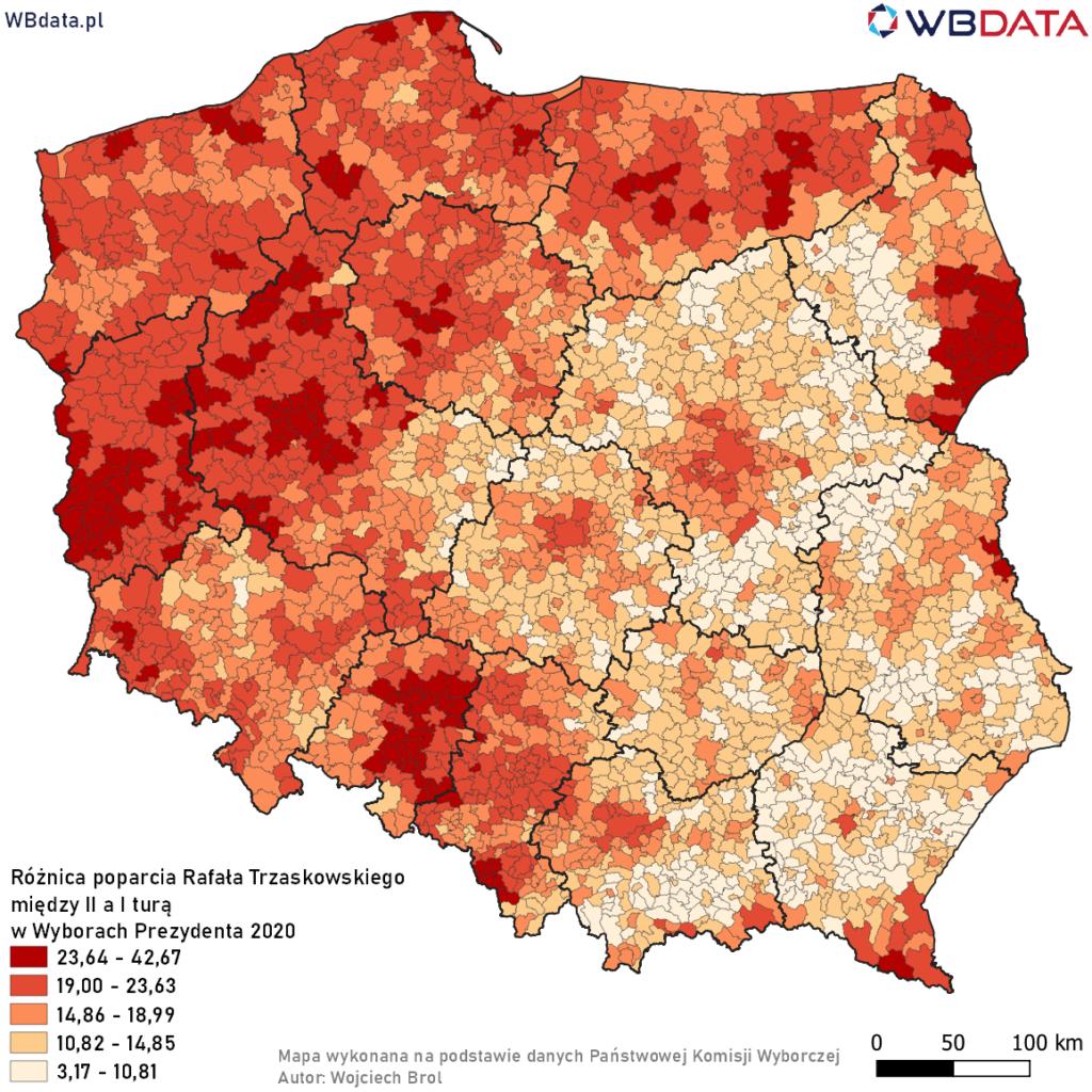 Mapa przedstawia różnicę poparcia w gminach dla Rafała Trzaskowskiego pomiędzy II a I turą Wyborów Prezydenta 2020