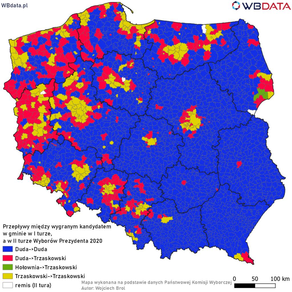 Mapa prezentuje przepływy pomiędzy wygranymi kandydatami w gminie w I turze i w II turze Wyborów Prezydenta 2020