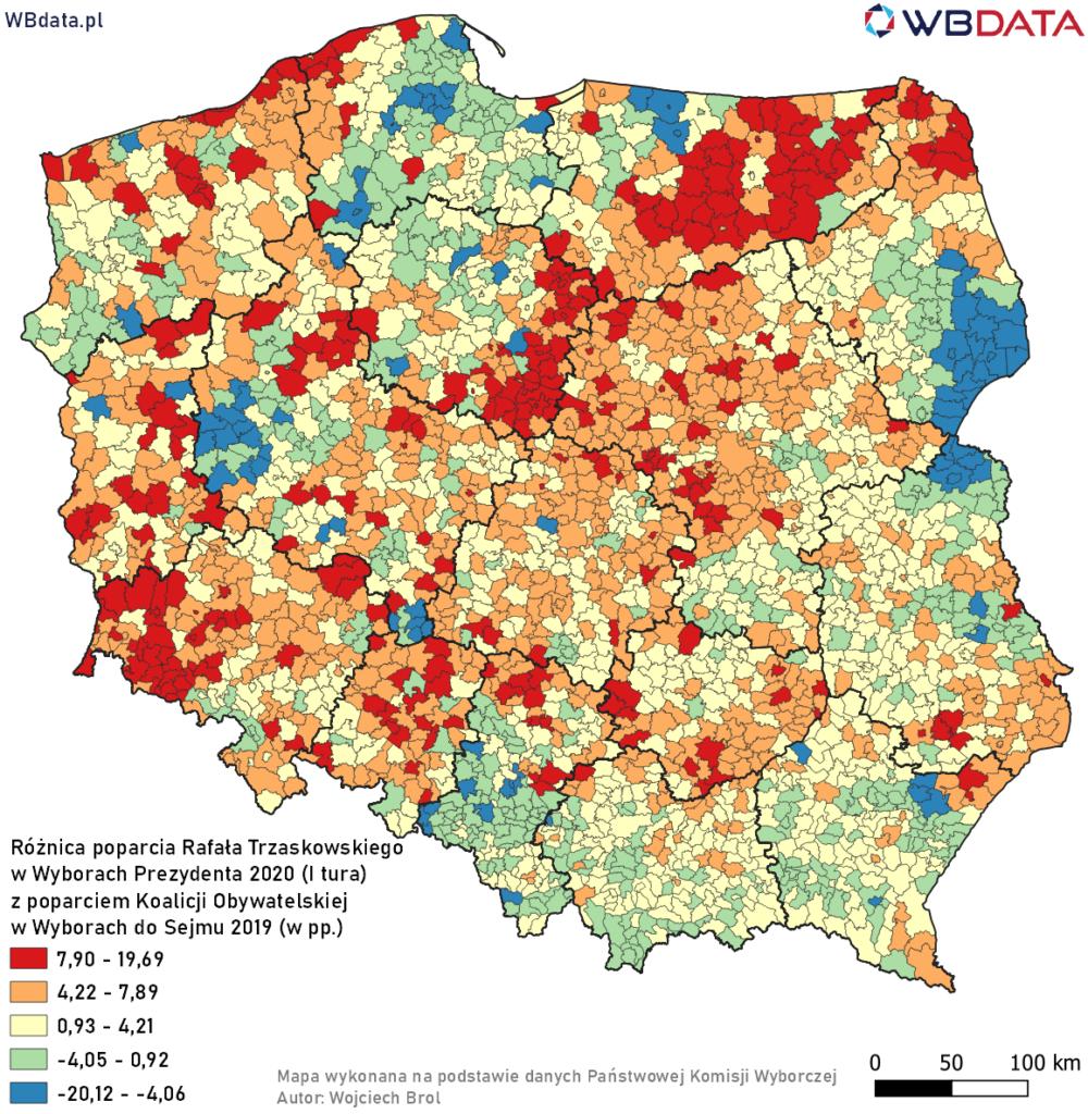 Mapa przedstawia różnicę poparcia Rafała Trzaskowskiego w Wyborach Prezydenta 2020 (I tura) z poparciem Koalicji Obywatelskiej w Wyborach do Sejmu 2019 (w pp.)