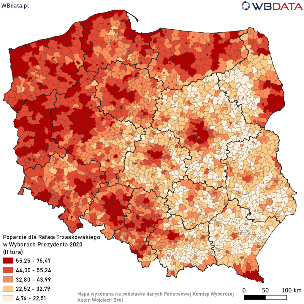 Mapa przedstawia poparcie dla Rafała Trzaskowskiego w Wyborach Prezydenta 2020 w gminach (II tura)