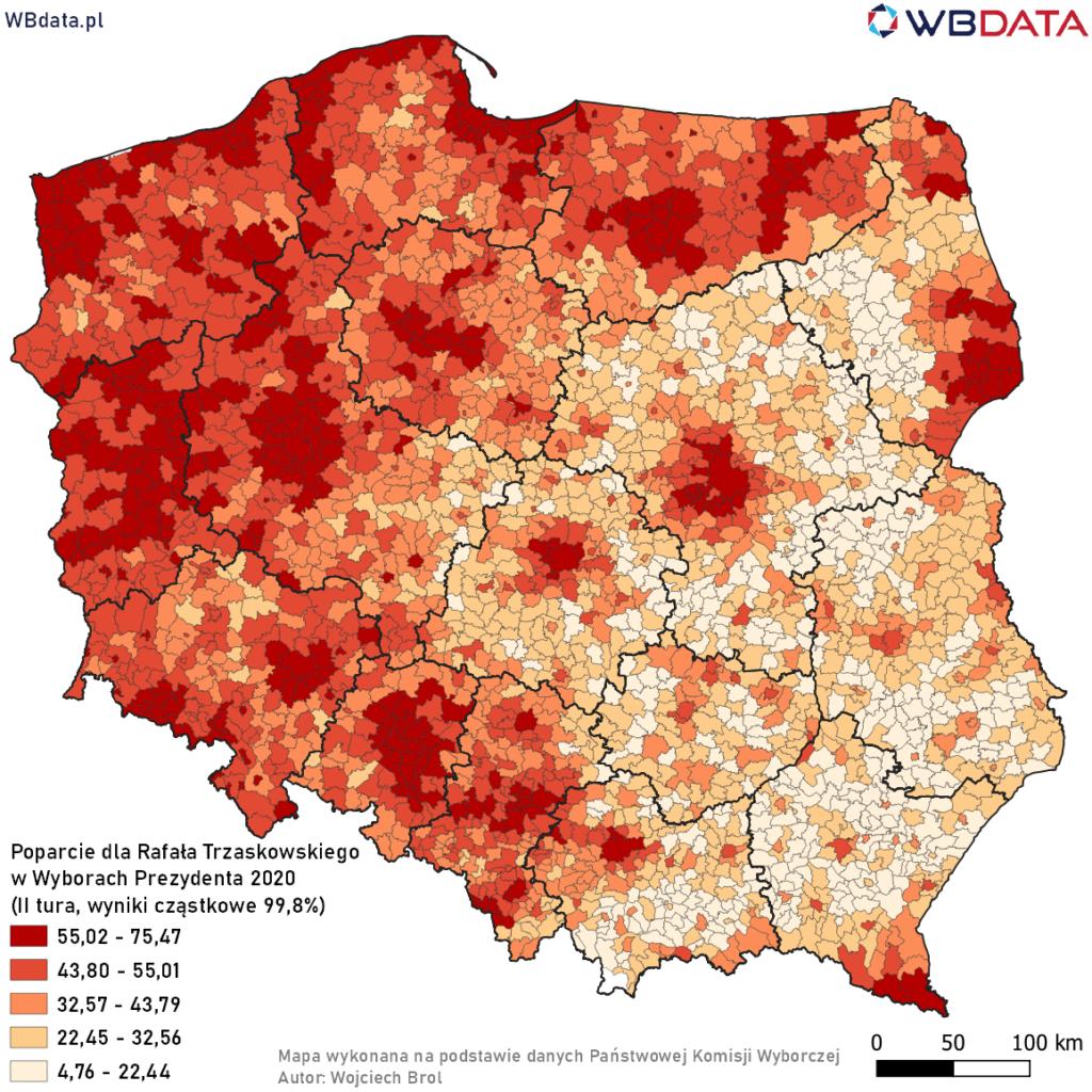 Mapa przedstawia poparcie dla Rafała Trzaskowskiego w Wyborach Prezydenta 2020 w gminach na podstawie wyników cząstkowych (99,84%, II tura)
