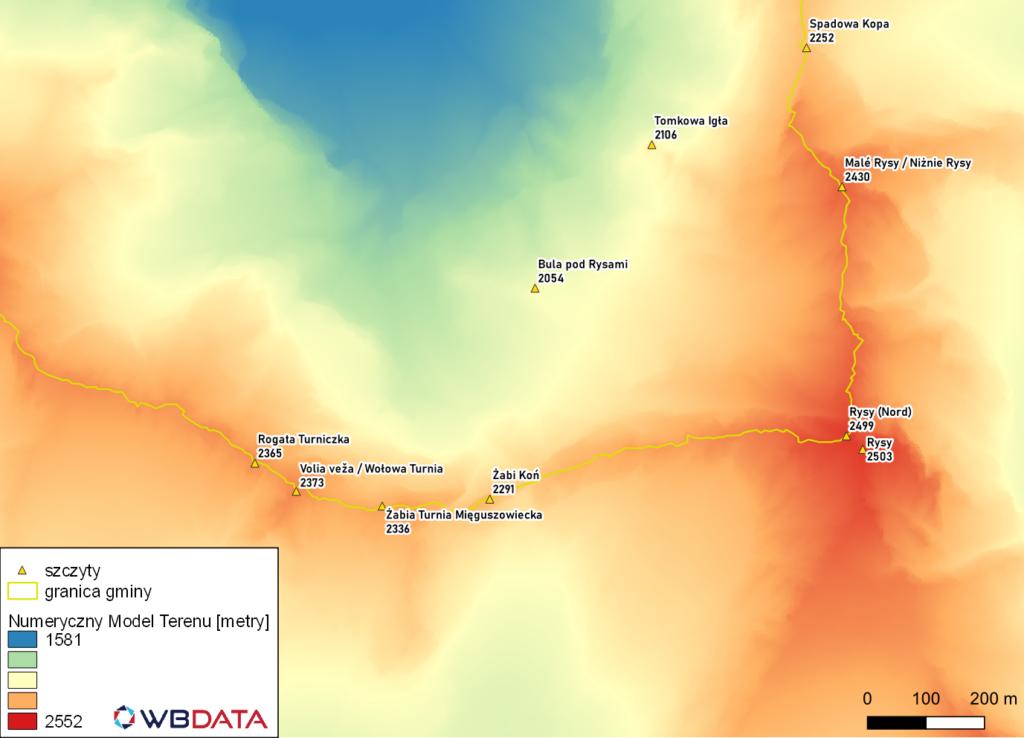 Mapa przedstawia wizualizację Numerycznego Modelu Terenu