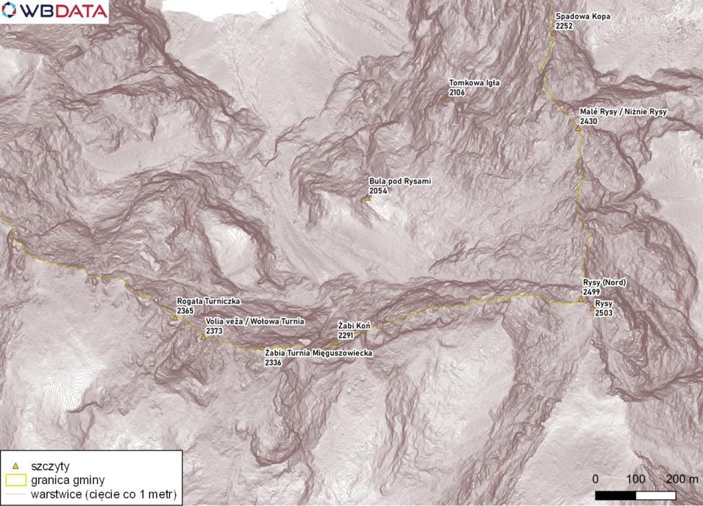 Mapa przedstawia warstwice (cięcie co 1 metr) z okolic Rysów utworzone z Numerycznego Modelu Terenu