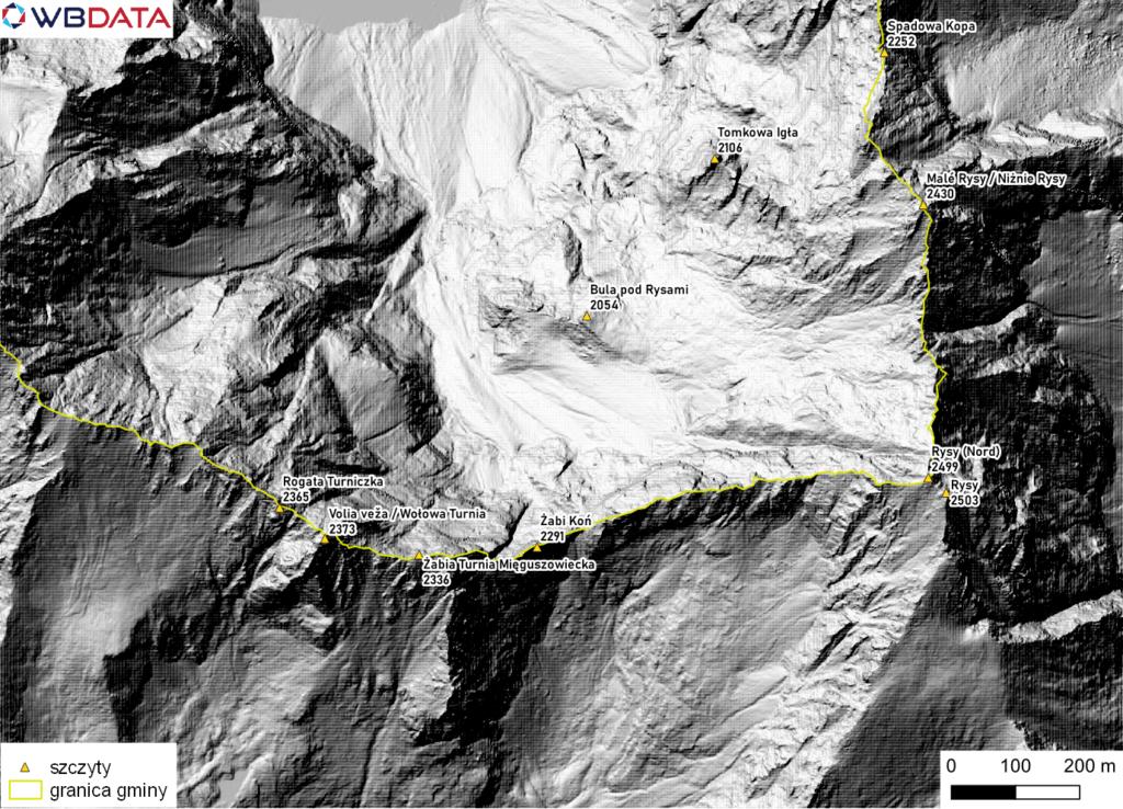 Mapa przedstawia wizualizację rzeźby terenu okolic Rysów utworzoną z Numerycznego Modelu Terenu