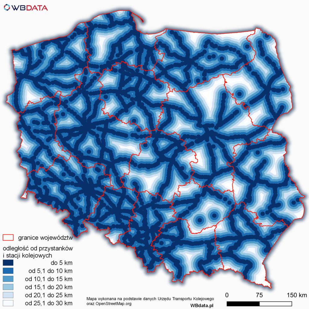 Mapa przedstawia 5 kilometrowe strefy odległości od przystanków i stacji kolejowych w Polsce