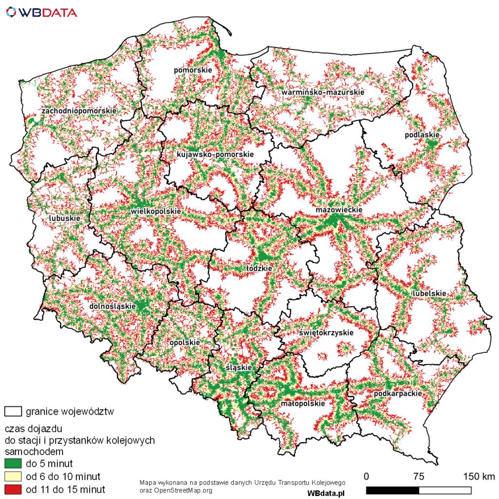 Mapa przedstawia dostępność czasową samochodem do stacji i przystanków kolejowych