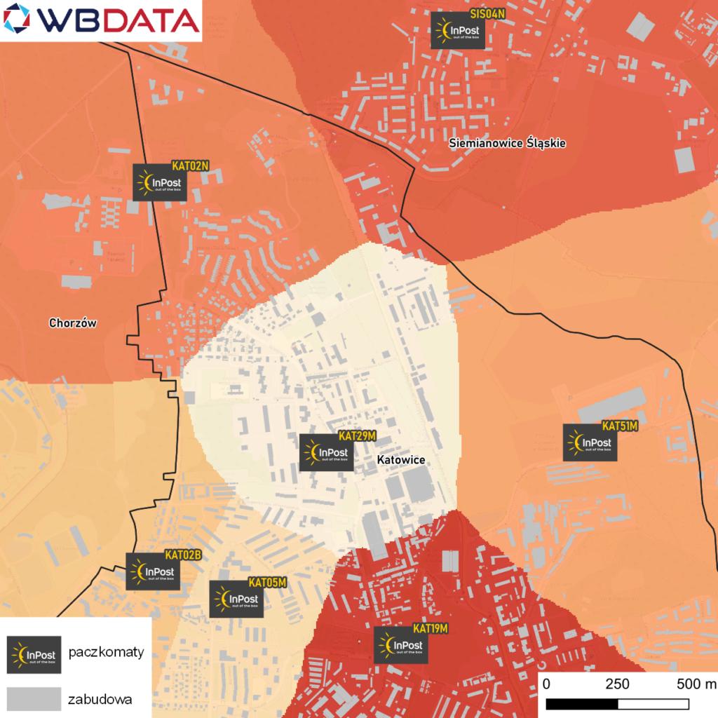Mapa prezentuje obszary najkrótszego dotarcia do paczkomatu