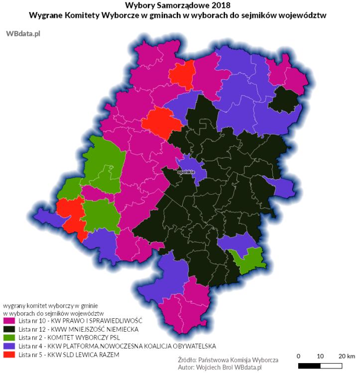 Wyniki wyborów w gminach do sejmiku województwa opolskiego